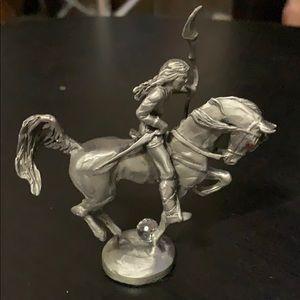 Pewter Native American figurine